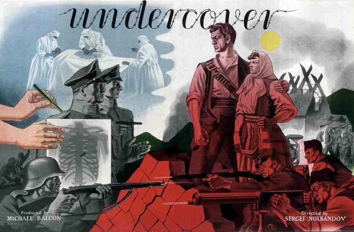 Plakat ratnog filma Prikriveni (Undercover, 1943) u produkciji britanskog Iling studija (Ealing Studios)